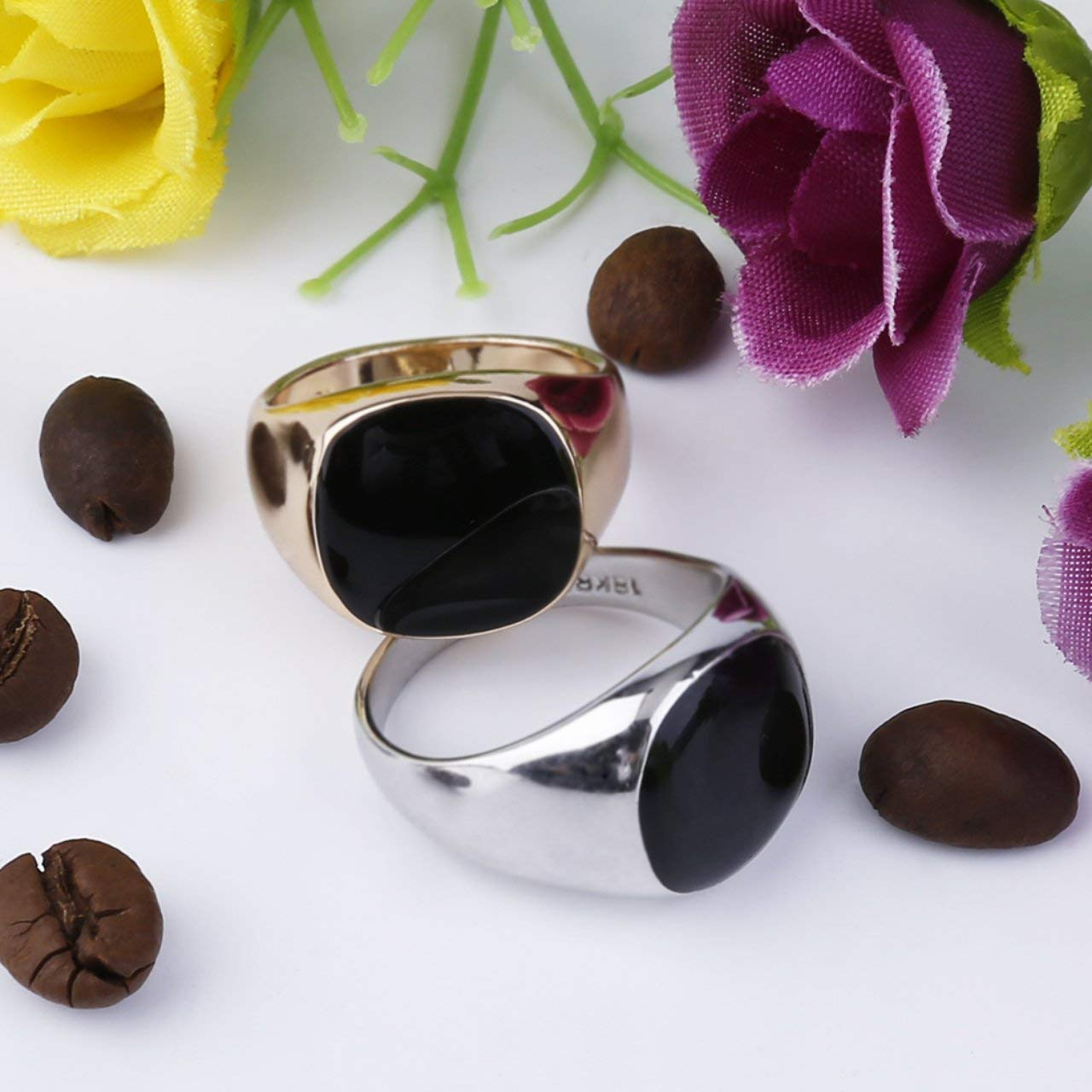 Blanc Jasnyfall Vintage Hommes Bague Bijoux Titane Acier Dominant Obsidian Party Club Bague Bijoux Anneau Cadeau Bijoux 17mm