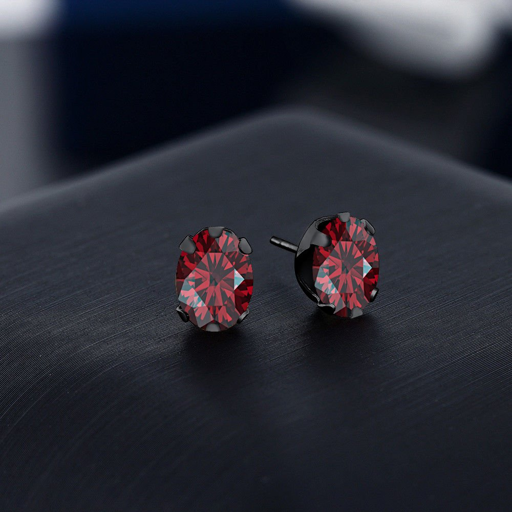tusakha Solitaire 5x7mm Oval Cut Created Garnet Stud Earrings For Womens /& Girls