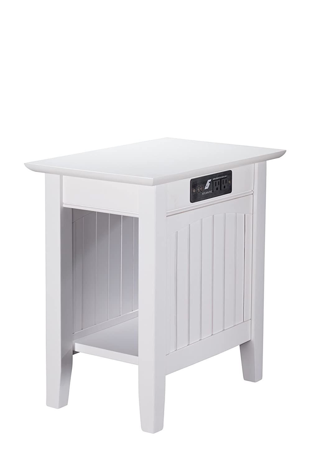 Atlantic Furniture AH13312 Nantucket Chair Side Table with Charging Station, White