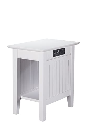 Atlantic Furniture Nantucket Chair Side Table with Charging Station, White