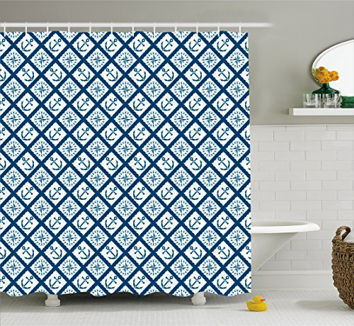 Ambesonne Navy Shower Curtain by, Nautical Pattern with Anchor and Windrose in Rope Stripes Navigation Sea Adventure, Fabric Bathroom Decor Set with Hooks, 70 Inches, Indigo White