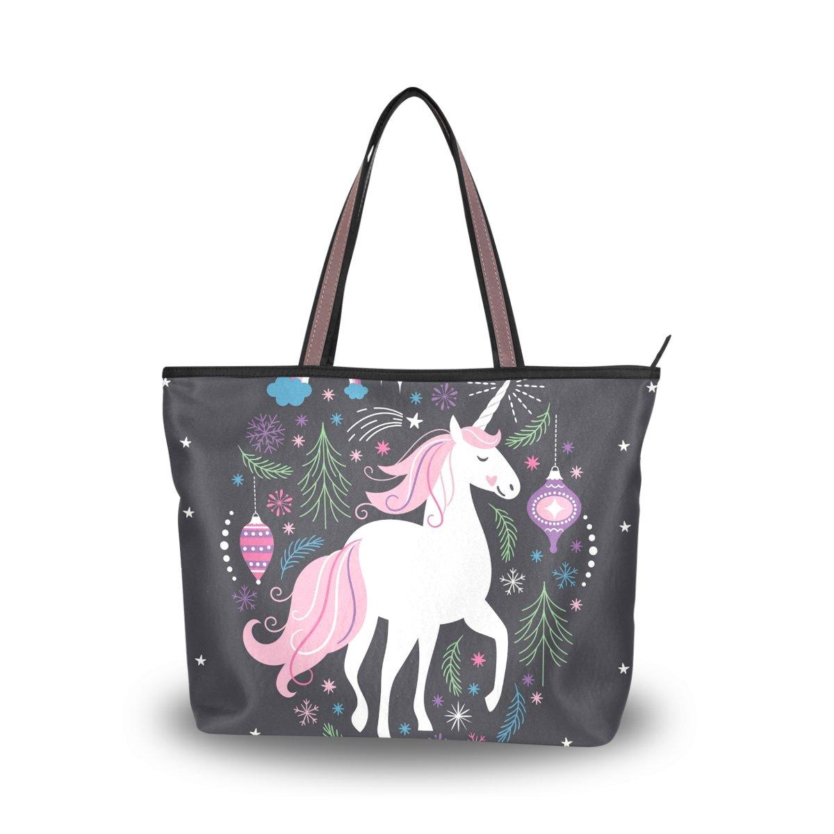 JSTEL Women Large Tote Top Handle Shoulder Bags Hristmas Unicorn Patern Ladies Handbag