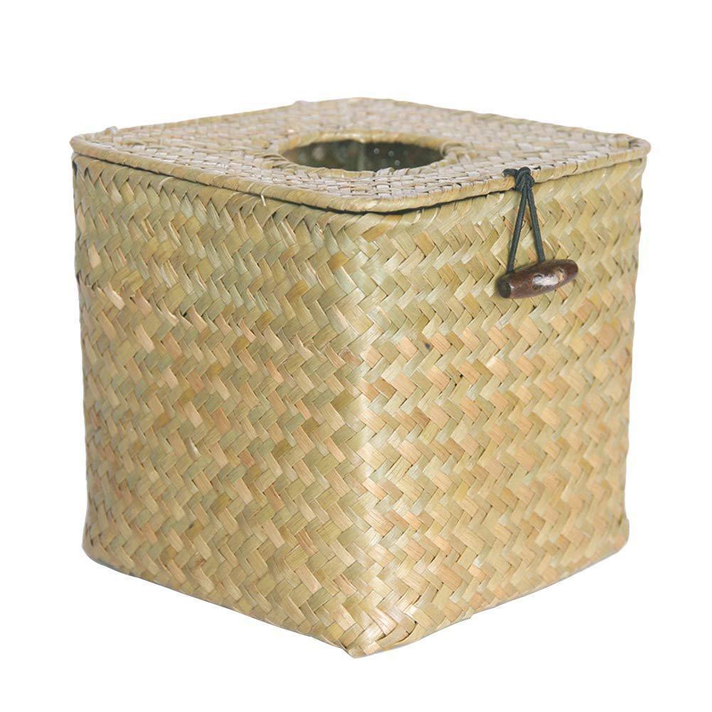 Square Seagrass Facial Tissue Box Dispensador De Servilletas Decorativo De Papel Tejido circulor Tapa De La Caja De Pa/ñuelos