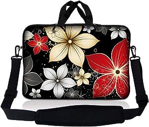 Laptop Skin Shop 8-10.2 inch Neoprene Laptop Sleeve Bag Carrying Case with Handle and Adjustable Shoulder Strap - Black Gray Red Flower Leaves