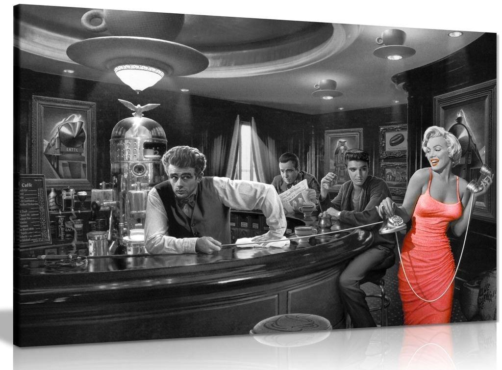Kunstdruck auf Leinwand  Marilyn Monroe, Elvis Presley, James Dean, schwarz weiß rot, schwarz   rot   weiß, A0 91x61cm (36x24in)