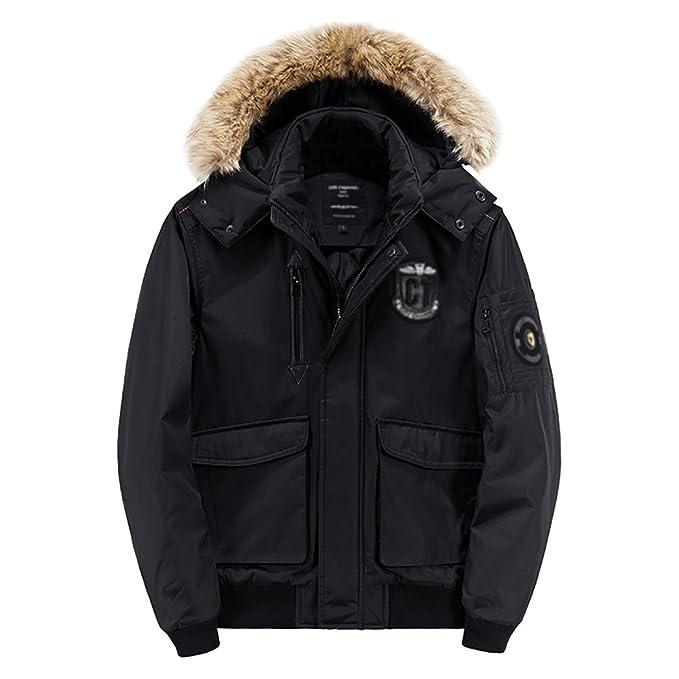 NiSeng Hombre Parka Militar Abrigo Capucha pelo Chaqueta Jacket Invierno Negro 2XL: Amazon.es: Ropa y accesorios