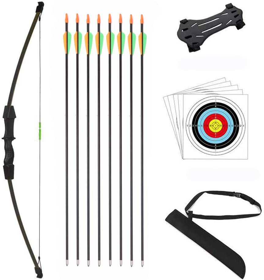 DOSTYLE Outdoor Youth Recurve Bow and Arrow Set Children Junior Archery Training for Kid Teams Game Gift (Black)