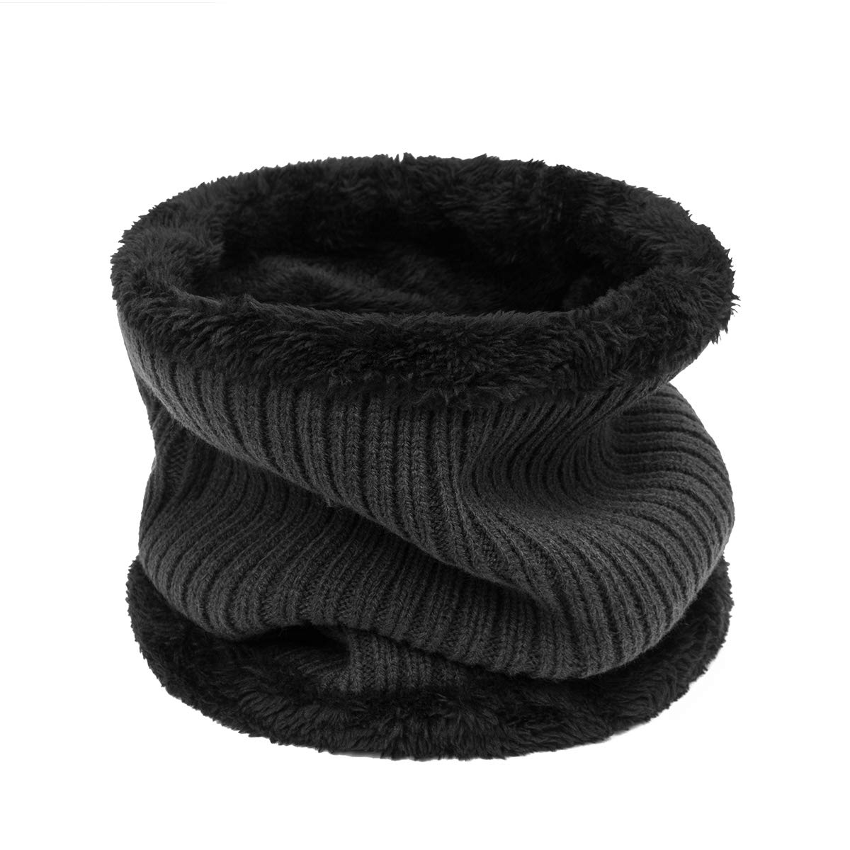 ADUO Winter Infinity Scarf Double-Layer Soft Fleece Lined Thick Knit Neck Warmer Circle Scarf Windproof for Men Women