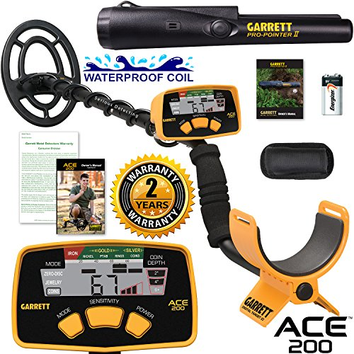 Garrett ACE 200 Metal Detector with Waterproof Search Coil and Pro-Pointer II by Garrett