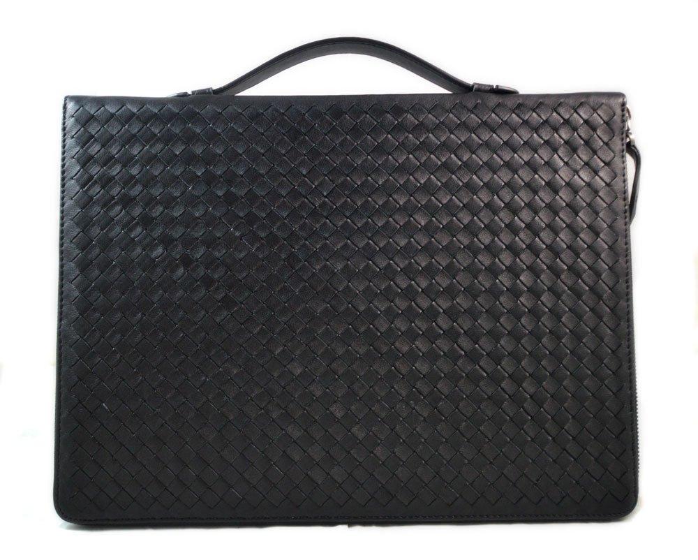 Black leather folder A4 document file folder A4 braided weaved leather zipped folder bag made in Italy office folder document folder