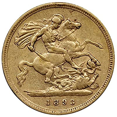 1893 Great Britain Half Sovereign Gold Coin, Queen Victoria, Very Fine Condition