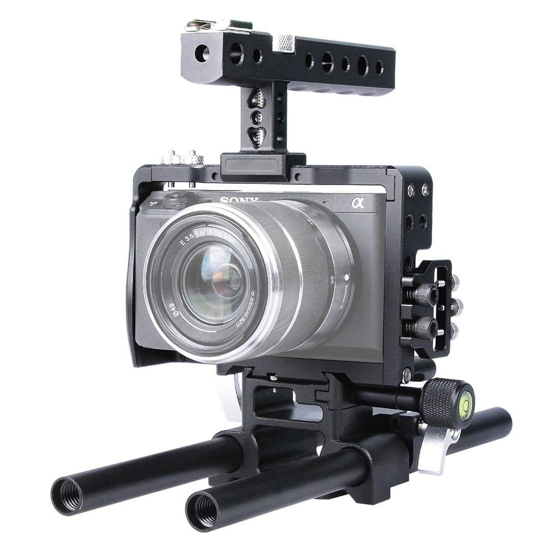 カメラケージキットfor Sony a6000 a6300 a6500 – PULUZアルミニウム合金CNC DSLRビデオハンドルスタビライザーステディカムSteady Camロッドリグwithトップハンドルグリップ+ベースプレート(ブラック)   B06XHJVHPS