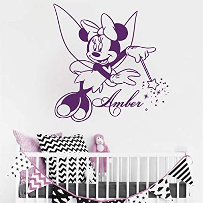 DD-decal Minnie Mouse Stickers Minnie Mouse Decals Minnie Mouse Personalized Name for Kids Rooms Girls Bedroom Cartoon Art Mural DIY Customized: Home & Kitchen