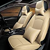 Ford F150 Car Seat Cover PU leather 9Pcs Front & Rear By AUTOPDR for Ford F-150 Model 5 seats 2010-2015(Beige)