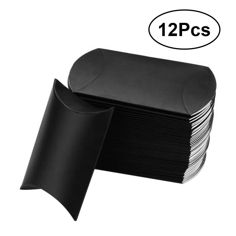 BESTOMZ 12pcs Boîtes à dragée marié Ballotin à cadeau Noir en papier en forme d'Oreiller pour Mariage,Anniversaire, diverses occasions