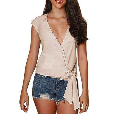 Blusas para Mujeres, Mujeres Clásico Colores Sólidos Más Tamaño ...