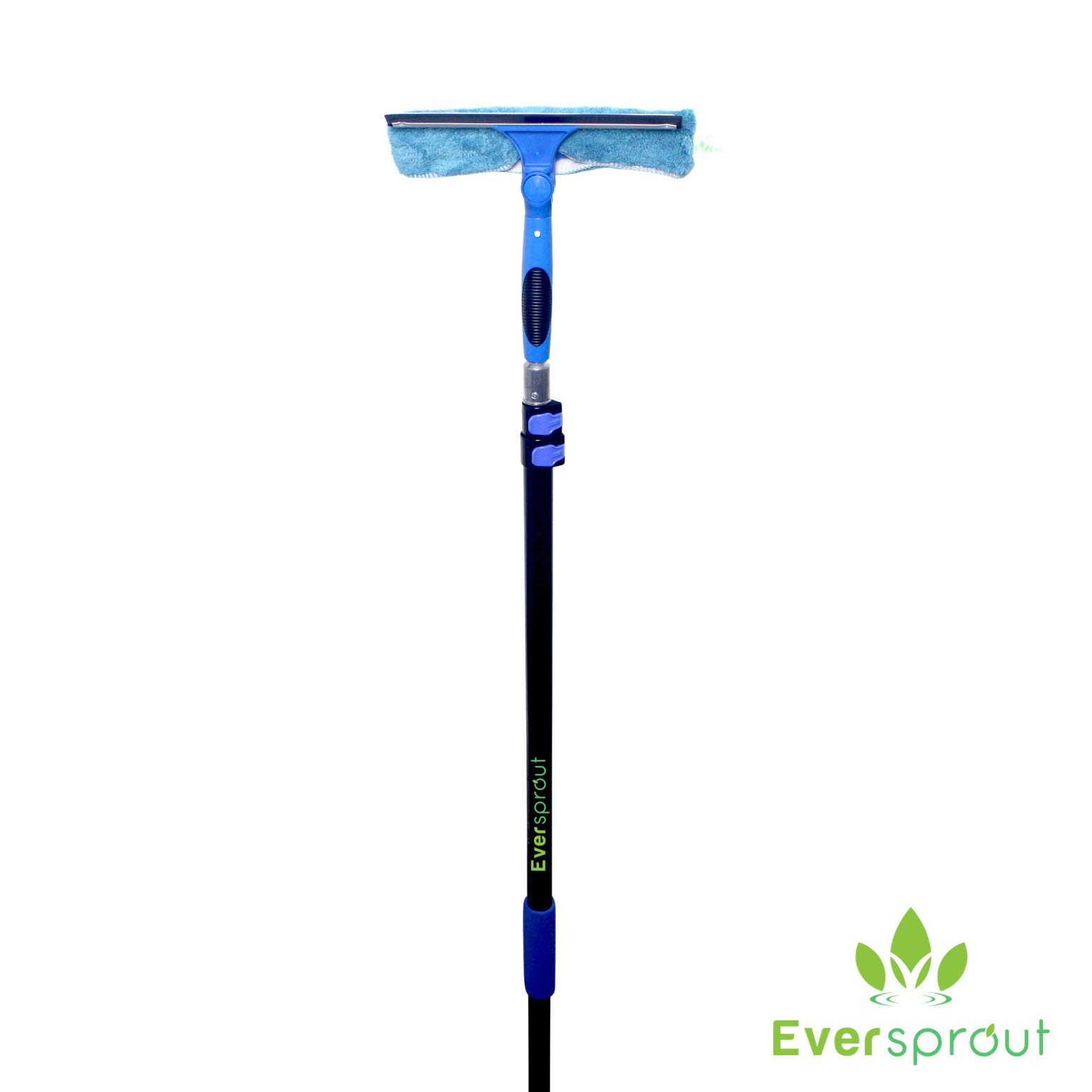 EVERSPROUT 7-to-20 Foot Swivel Squeegee and Microfiber Window Scrubber (25+ Ft. Reach) | 2-in-1 Window & Glass Cleaning Combo with Light-Weight, Aluminum Extension Pole | Includes 10-inch Blade by EVERSPROUT (Image #2)