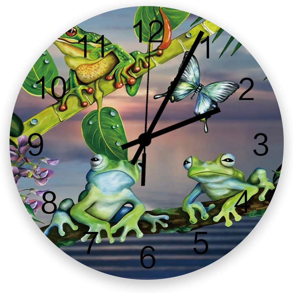 """Futuregrace Chic Wooden Wall Clock Battery Operated Non-Ticking 12"""" Round Wood Clocks, Cartoon Frog Branch Kitchen Wall Clock for School Bathroom Living Room Home Office Wall Decor"""
