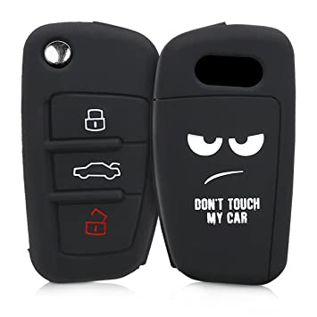 kwmobile Funda para Llave Plegable de 3 Botones para Coche Audi - Carcasa Protectora [Suave] de [Silicona] - Case de Mando de Auto con diseño Dont ...