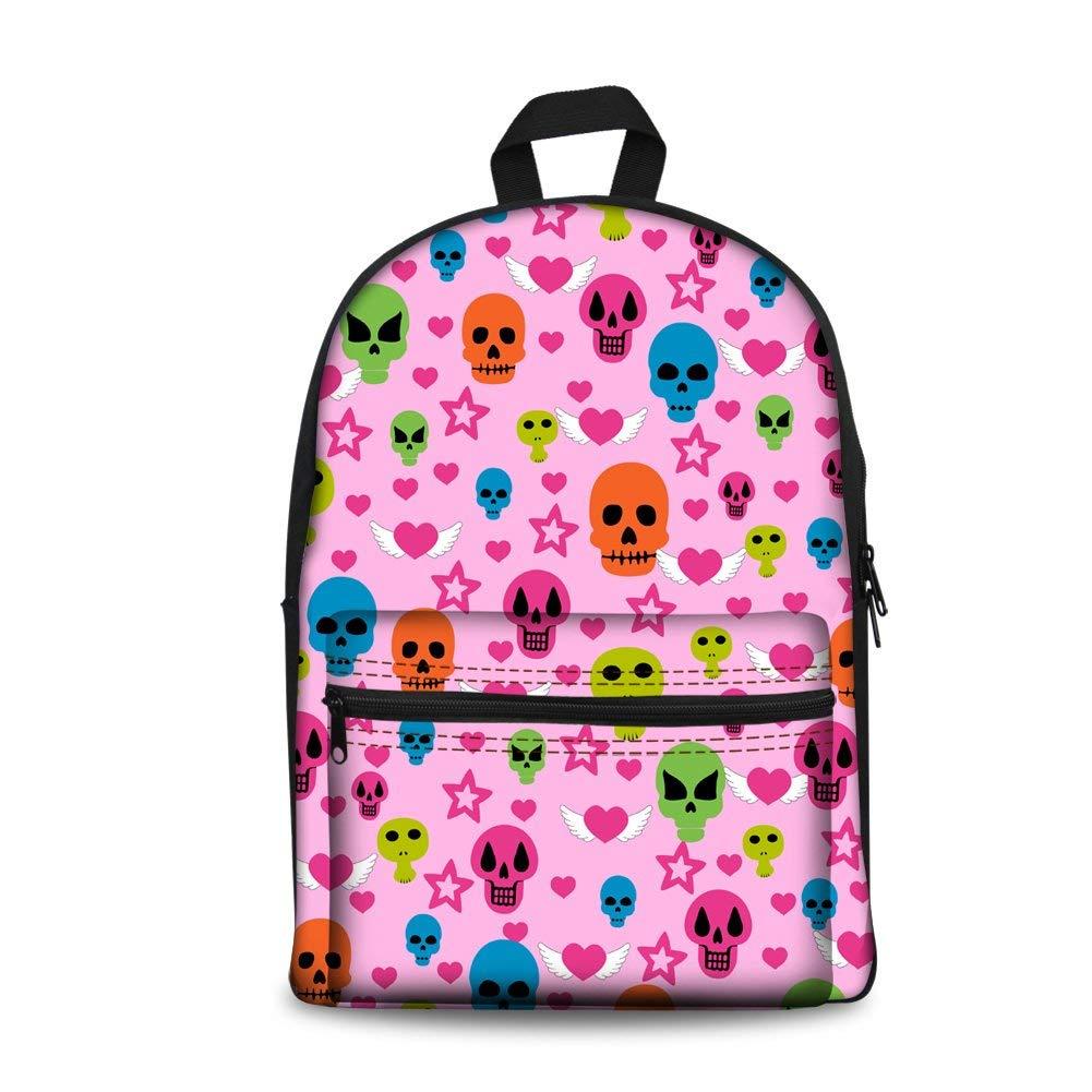 Pink School Backpack Personalised Book Bag for School Boys Girls Teenage with Skull Pattern (color   blueee)