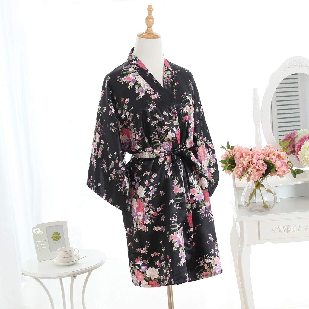 51e7c05261a1 KASAAS Bathrobe for Women Sexy Cherry Blossom Kimono Dressing Gown Loose  Lingerie Nightdress Robes(One Size
