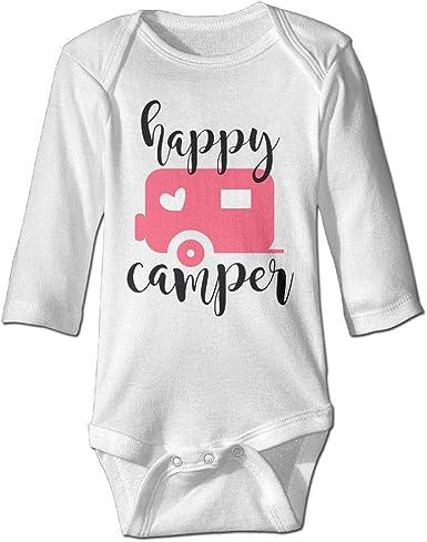 Happy Camper Cute Short Sleeve Clothes for Boy Girl Dress Cotton T-Shirt Unique Bodysuit Romper,One-Piece Jumpsuit