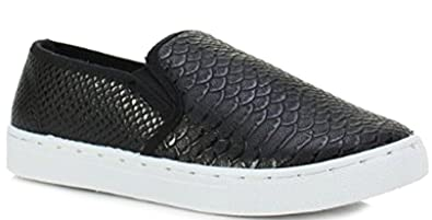 cd4cfeafdadd Ladies Canvas Trainers Plimsolls Slip on Skater Shoes Pumps Flat Size -  shoeFashionista Branded - Style E - Black Croc  Amazon.co.uk  Shoes   Bags