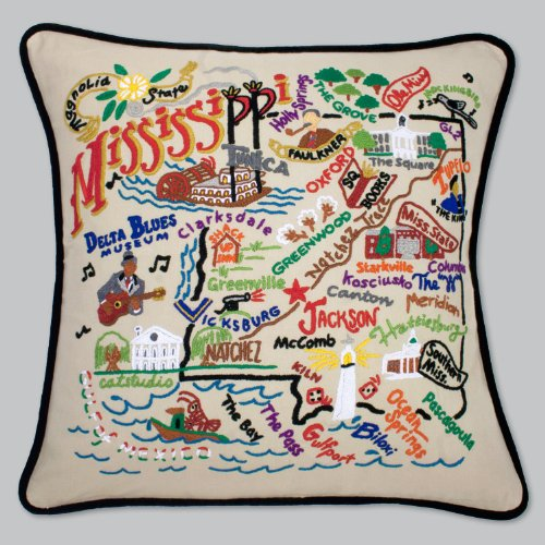 Mississippi Pillow by Catstudio Embroidered Pillow