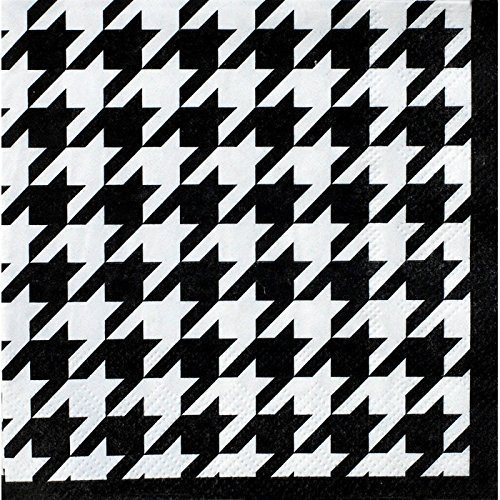 Houndstooth Beverage or Cocktail Napkins (16 Pack, Black and White) Alabama Houndstooth Collection by Havercamp (Party Houndstooth Supplies)