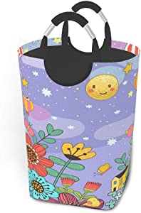 Collapsible Laundry Baskets Floral Fairy Tale World Large Dirty Laundry Hamper Colapsable Collaspable Calaspable Fold Dorm Fabric Laundry Basket For Baby Girl Kids Sock Clothes Camp Travel Rectangle