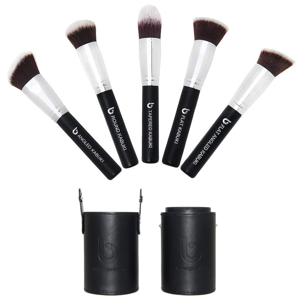 Kabuki Face Makeup Brush Set – Best 5 pc Large Face Brushes with Case for Foundation, Blush, Bronzer, Concealer, Mineral Powder Cosmetic Applicator Soft Dense Synthetic Vegan Brochas de Maquillaje