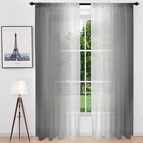 Gray Ombre Sheer Curtains 84 Inch Long – Faux Linen Gradient Semi Voile Rod Pocket Bedroom and Living Room Curtains, Set of 2 Window Curtain Panels, Gray Gradient