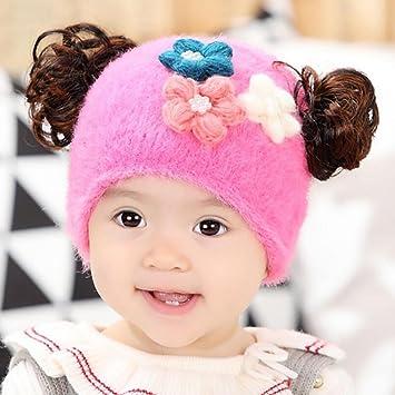 YINGER Sombrero de bebé con peluca Algodón Otoño Mantener caliente Adecuado para 0-12 meses