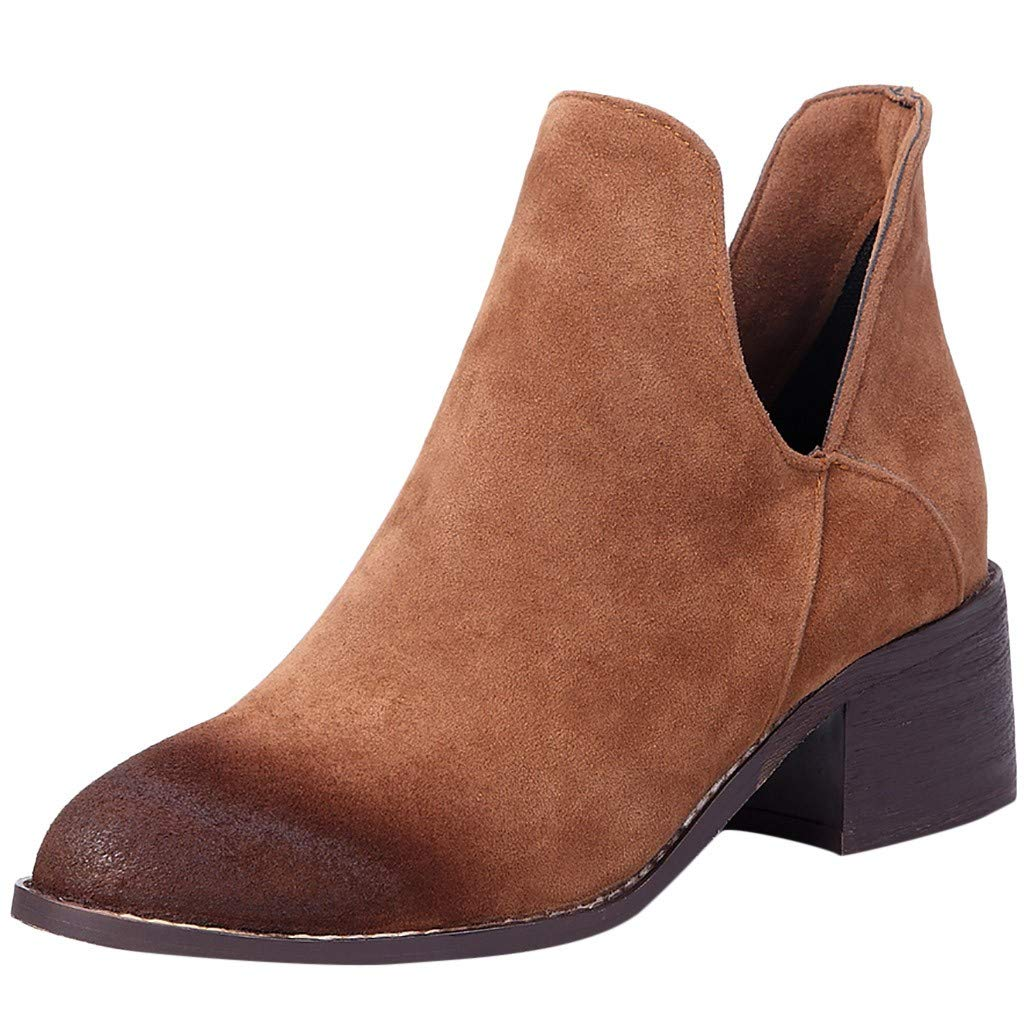 【MOHOLL 】 Women Short Boots Retro Chunky Heel Slip On Single Boot Scrub Ankle Boots Round Toe Suede Comfy Boots Brown