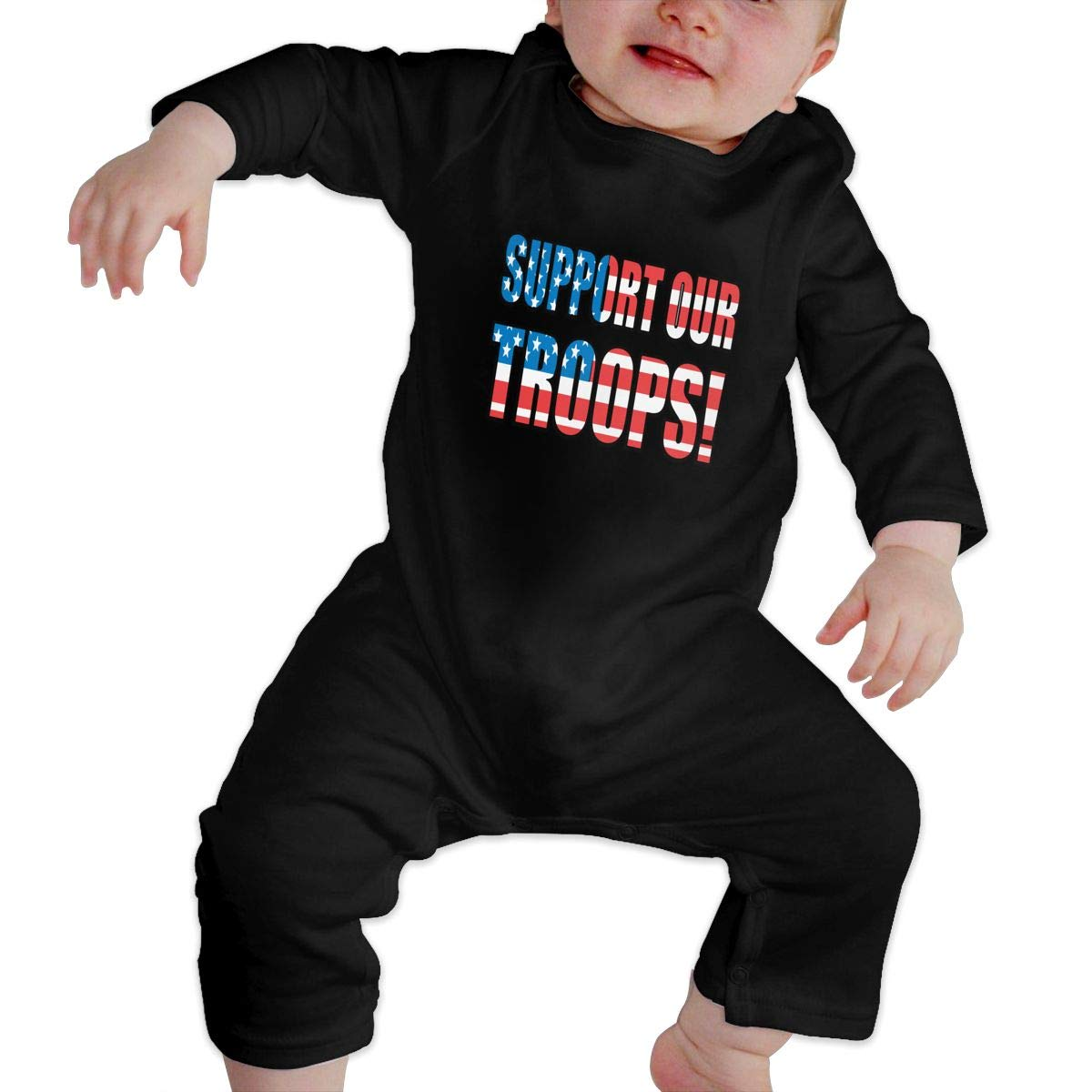 Suit 6-24 Months Baby Girls Round Collar Support Our Troops Long Sleeve Romper Jumpsuit 100/% Cotton