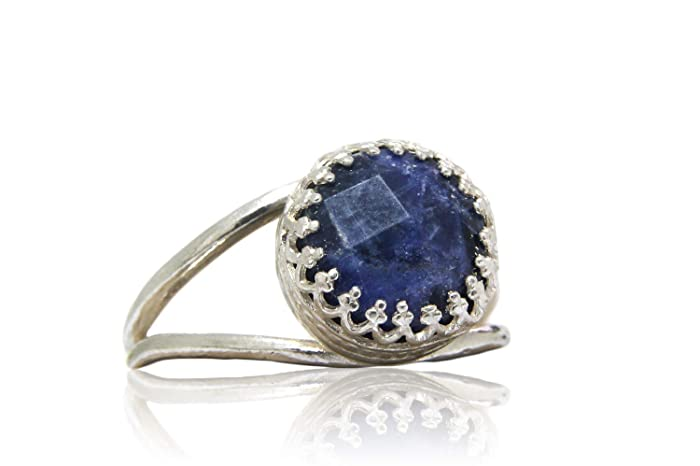 29afdd945dc Amazon.com: Anemone Jewelry Sterling Silver Ring with Blue Sodalite ...