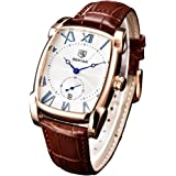 Classic Retro Rectangle Watches Men Brown Genuine Leather Men's Watch Quartz Business Wrist Watch for Men…