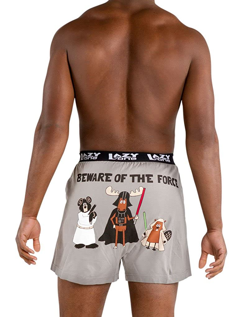Lazy One B333 Men's Beware Of The Force Grey Cotton Loose Boxers LAZY ONE INC