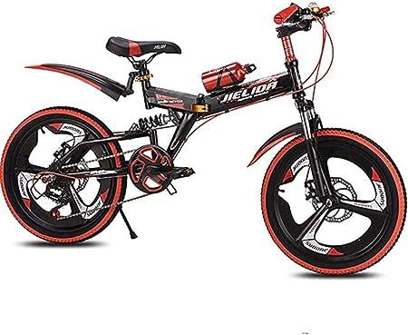 HongLianRiven BMX Bicicleta de montaña plegable para niños, acero al carbono, 50,8 cm, doble disco, amortiguación de freno, antideslizante, apto para viajes al aire libre, ejercicio 7-20: Amazon.es: Hogar