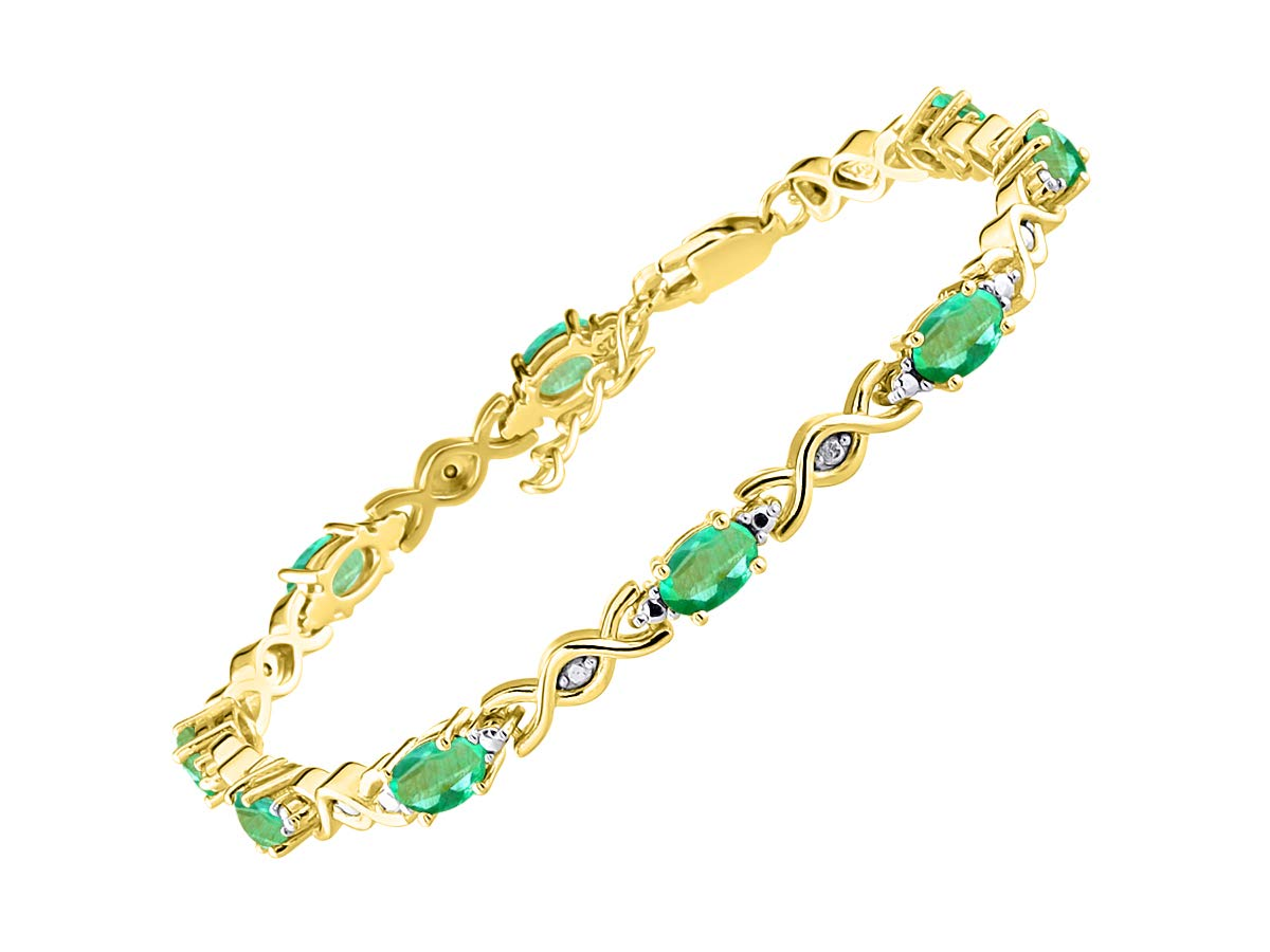 Stunning Emerald & Diamond XOXO Hugs & Kisses Tennis Bracelet Set in Yellow Gold Plated Silver - Adjustable to fit 7'' - 8'' Wrist