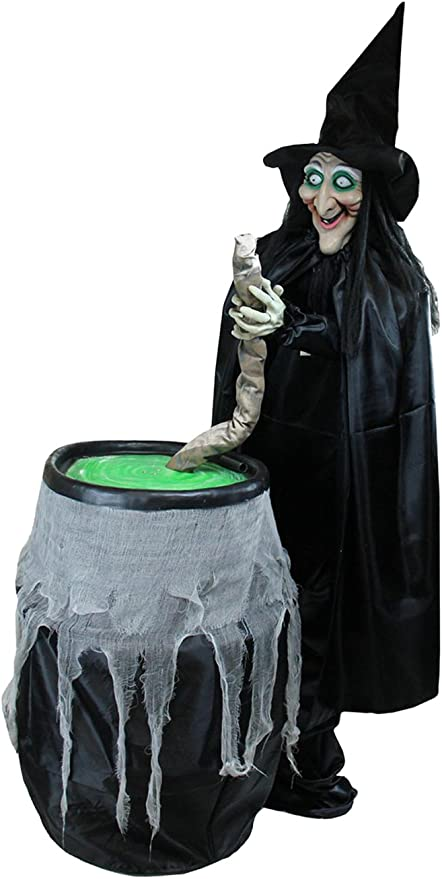 Amazon Com Northlight Touch A Countivated Lighted Stirring Witch Animated Halloween Decoration With Sound 5 5 Black Home Kitchen