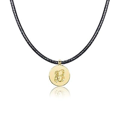 121f34810e8 Collier Femme Pendentif Lettre - Or Jaune 9 carats 375 ♥ lettres de  l alphabet pour elle et lui - Collier Cordon Longueur Réglable - Bijoux  fantaisie ...