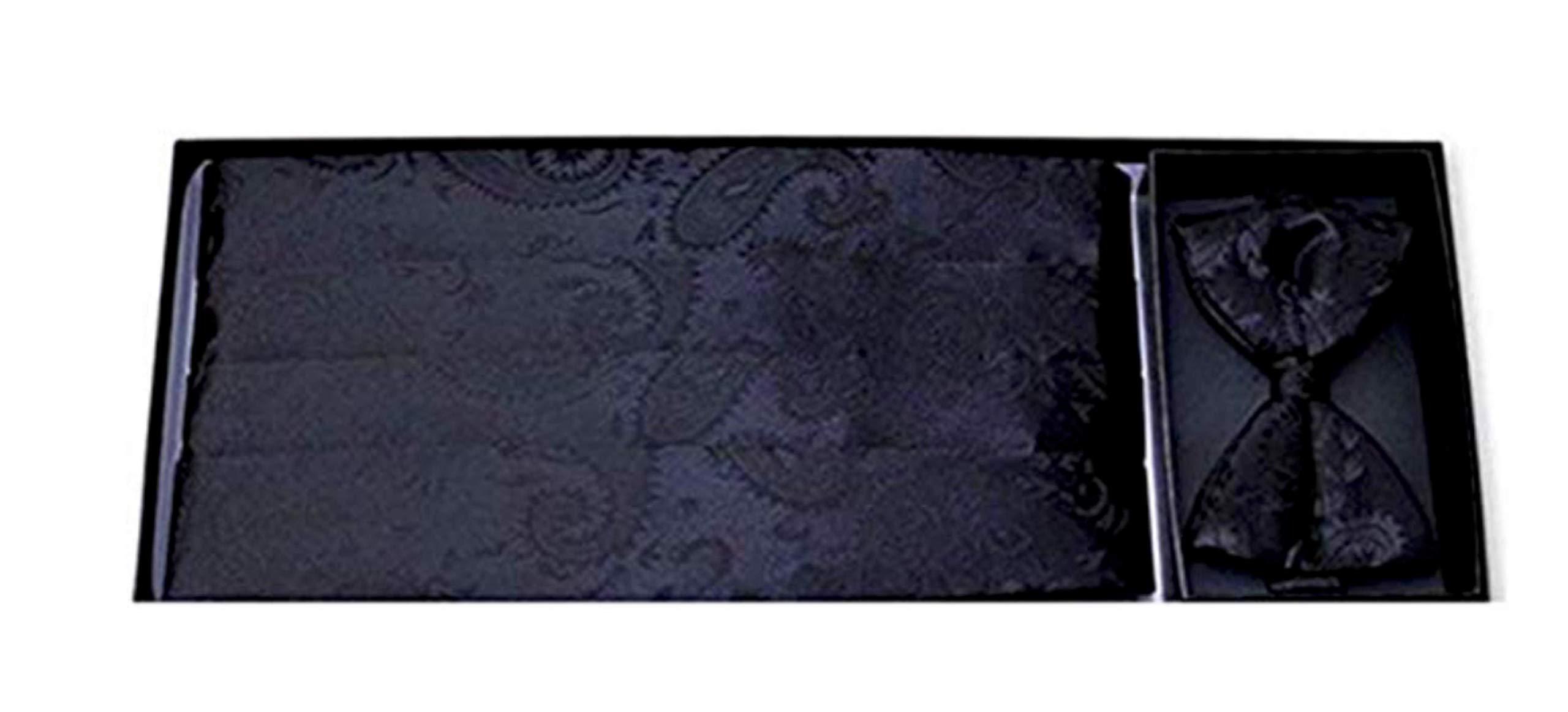 Bold Black Paisley Silk Tuxedo Cummerbund and Bow Tie by David's Formal Wear
