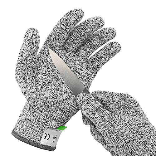Ultra Durable Cut Resistant Gloves Food Grade, Level 5 Protection for Oyster Shucking, Fish Fillet Processing, Mandolin Slicing, Meat Cutting, Wood Carving (Medium)