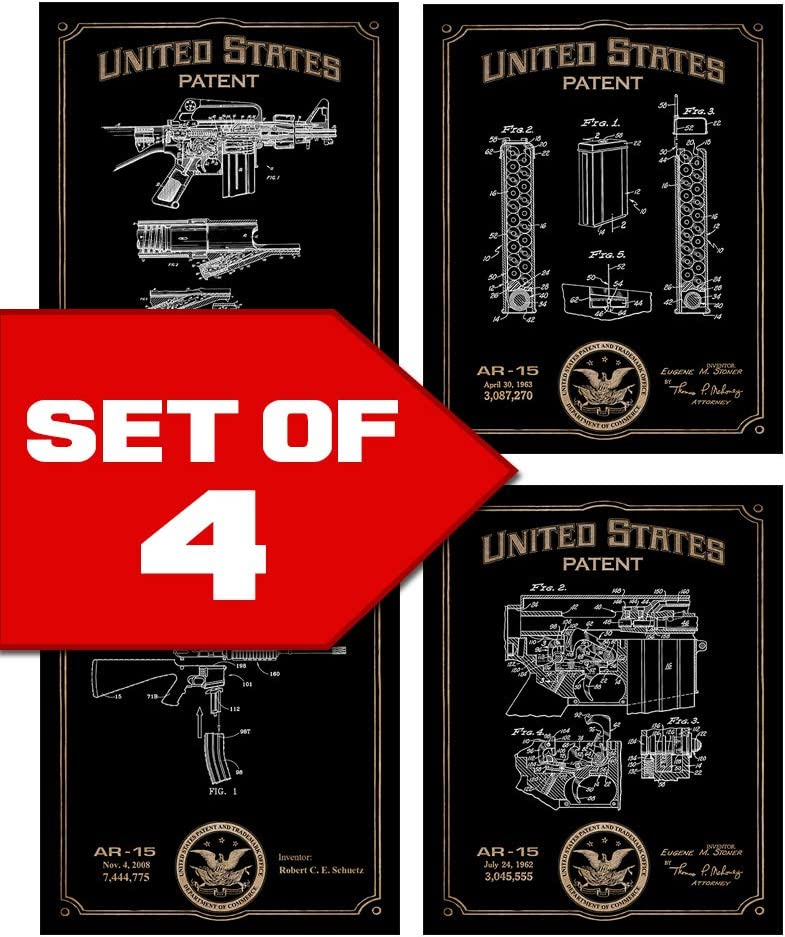 AR-15 Patents Decor Set of Four 8x10 Gun Themed Decorative Prints, great for bachelor pad, office, living room.