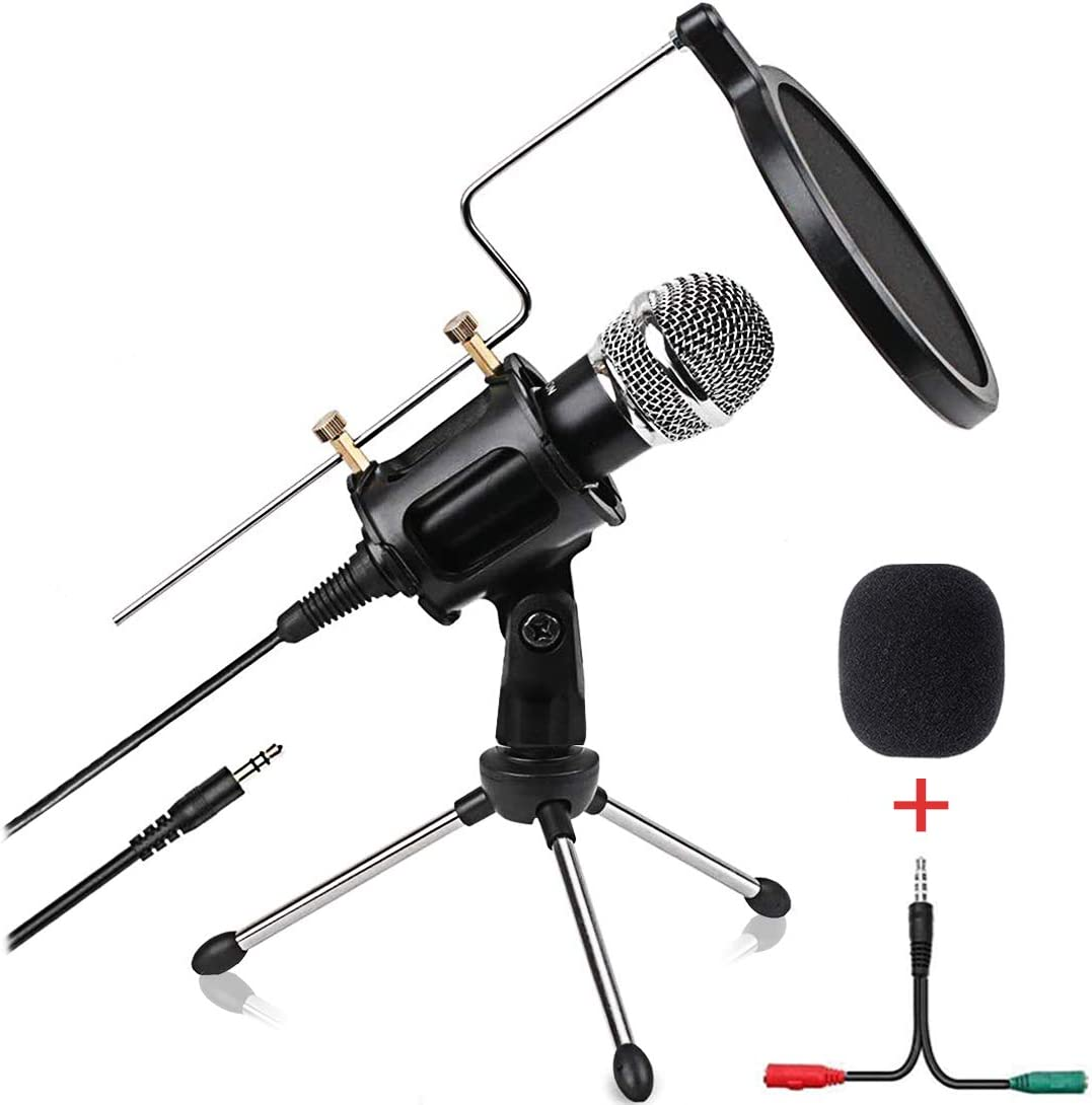 Amazon Com Condenser Microphone For Computer Studio Recording Podcast Microphone With Pop Filter 3 5mm Plug And Play Pc Phone Microphone For Skype Youtube Voice Overs Gaming Mic Home Audio Theater