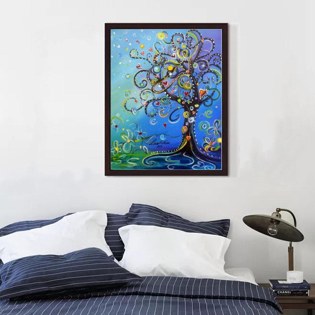 12x16in Summer Autumn and Winter Tree MXJSUA DIY 5D Diamond Painting by Number Kits Full Drill Rhinestone Embroidery Cross Stitch Pictures Arts Craft for Home Wall Decor,Spring