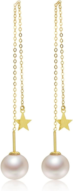 AnaZoz Pendientes 18K Oro Pendientes Mujer Oro Pendientes Perla Redonda Estrella Pendientes Drangle Para Mujer