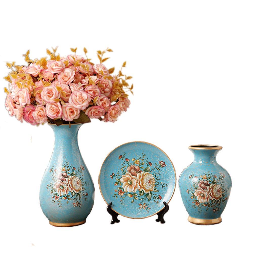 Porcelain Ceramic 3 piece set Vases living room home furnishing decoration wedding gift flower jardiniere flowerpot V35 (5 Blue with 4 Bouquets)