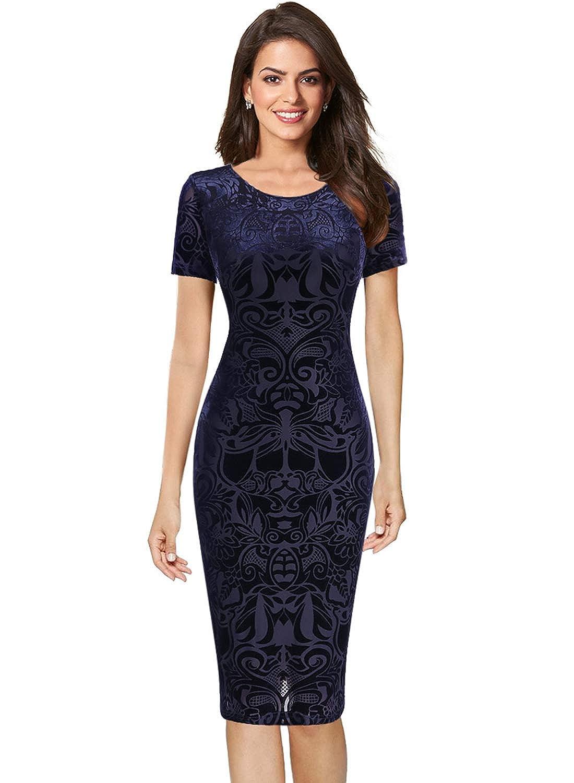 bluee VFSHOW Womens Elegant Velvet Casual Cocktail Party Bodycon Sheath Dress